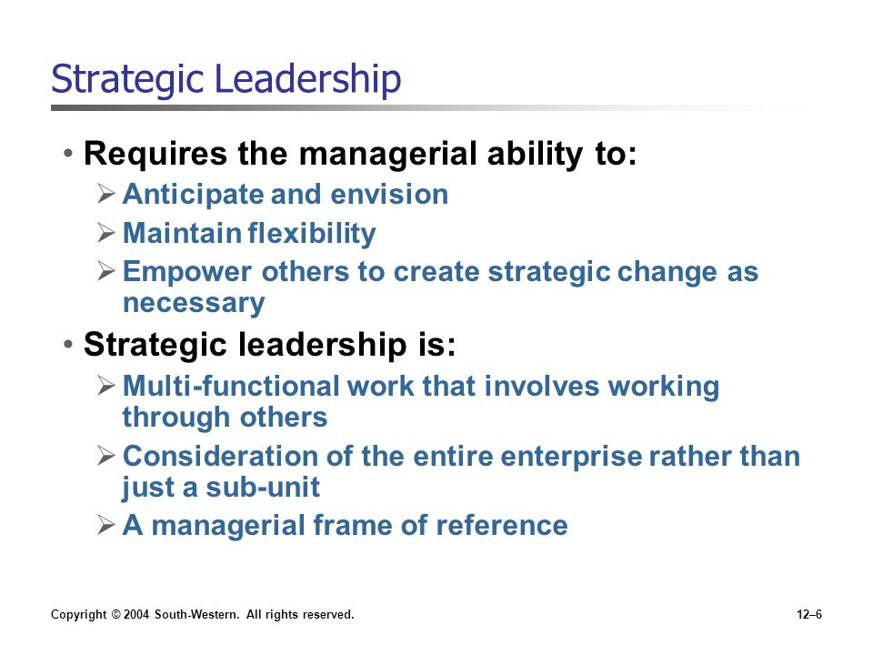 Strategic Leadership Requires the managerial ability to: