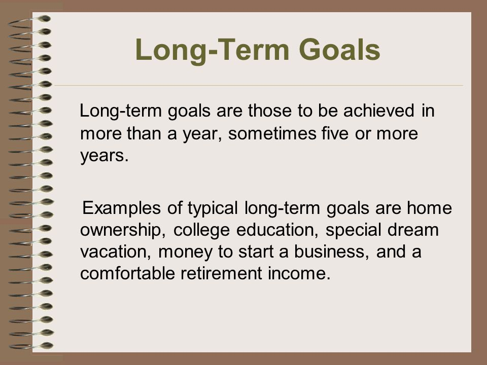 example of long term goals