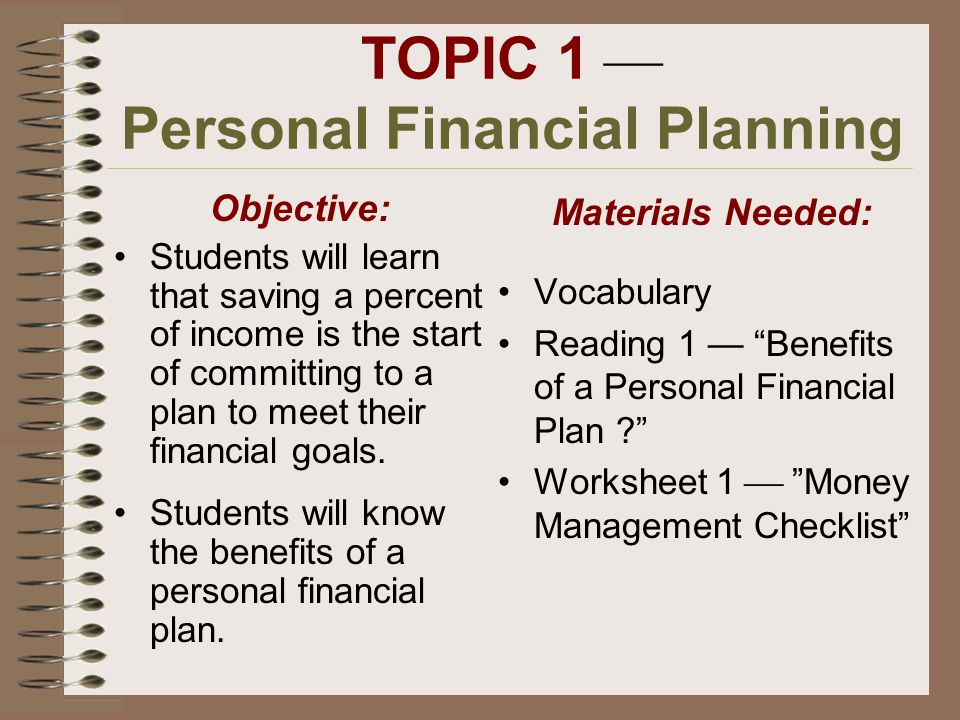 Indiana Department of Financial Institutions Consumer Credit – Personal Financial Planning Worksheets