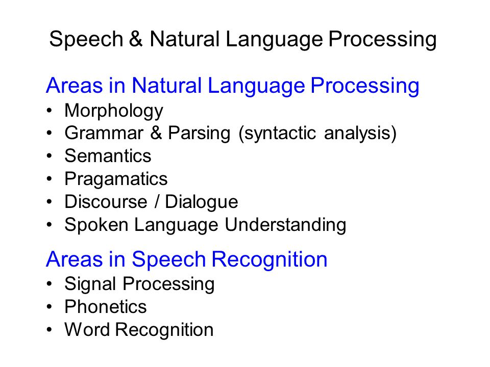 Speech & Natural Language Processing