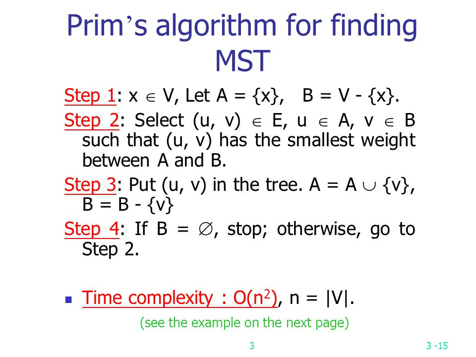 Prim's algorithm for finding MST