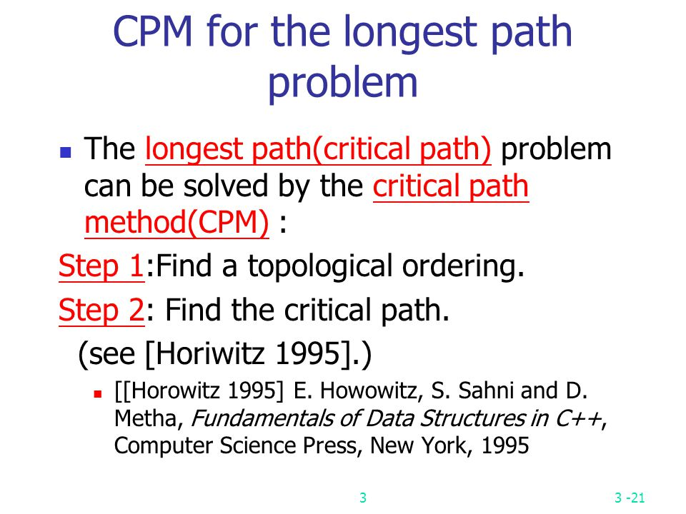 CPM for the longest path problem
