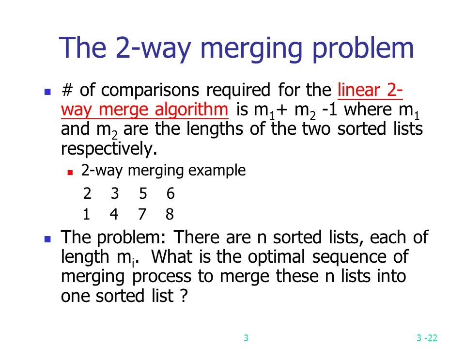 The 2-way merging problem