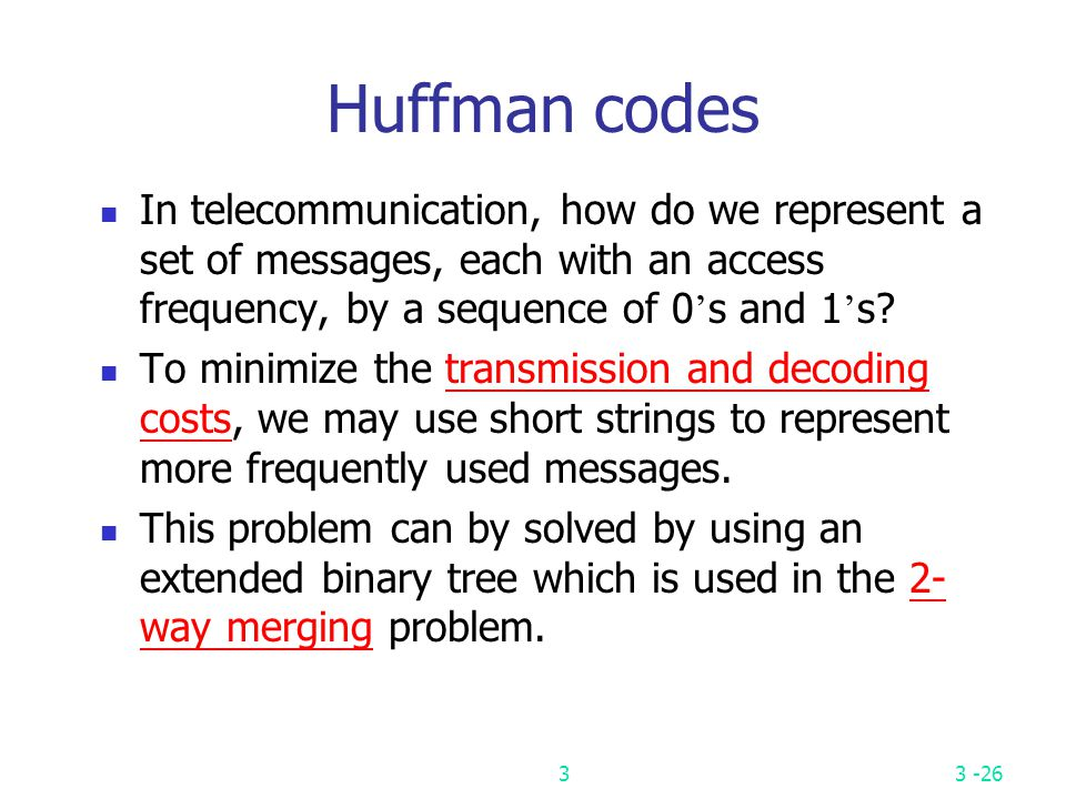 Huffman codes In telecommunication, how do we represent a set of messages, each with an access frequency, by a sequence of 0's and 1's