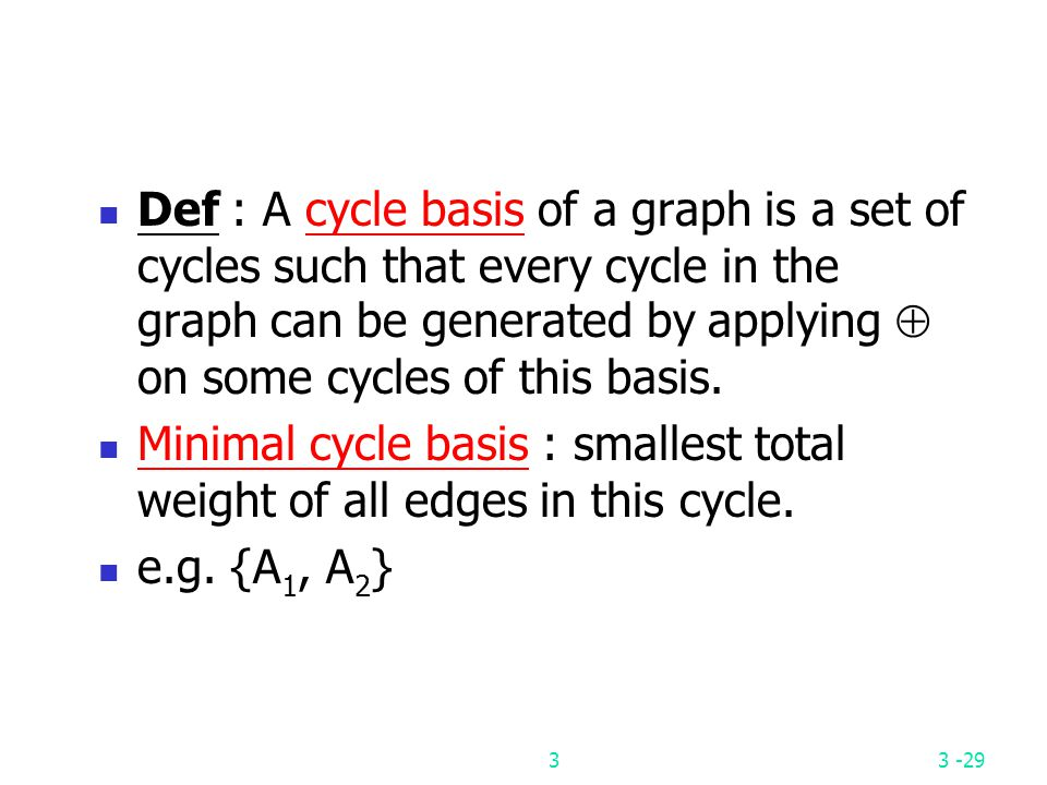 Def : A cycle basis of a graph is a set of cycles such that every cycle in the graph can be generated by applying  on some cycles of this basis.