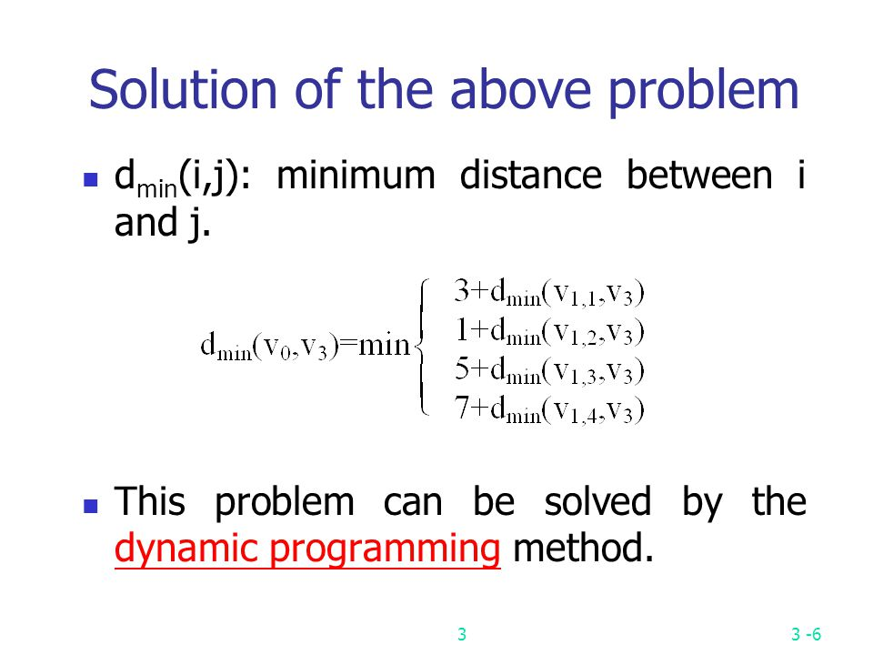 Solution of the above problem
