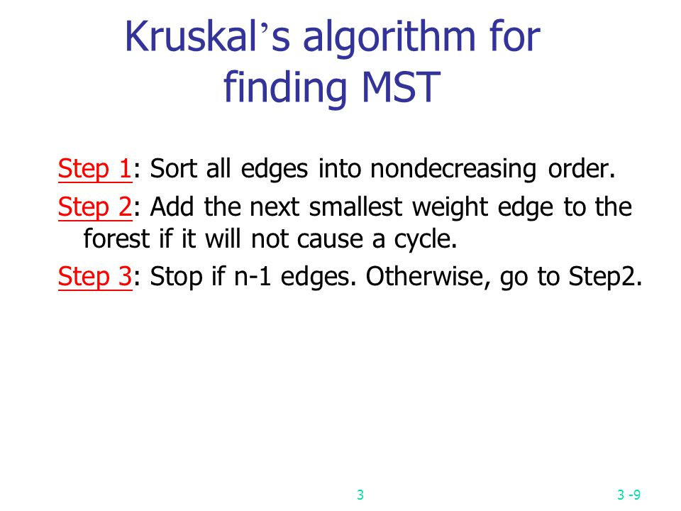 Kruskal's algorithm for finding MST