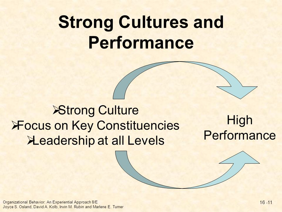 Strong Cultures and Performance