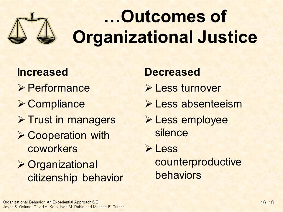…Outcomes of Organizational Justice