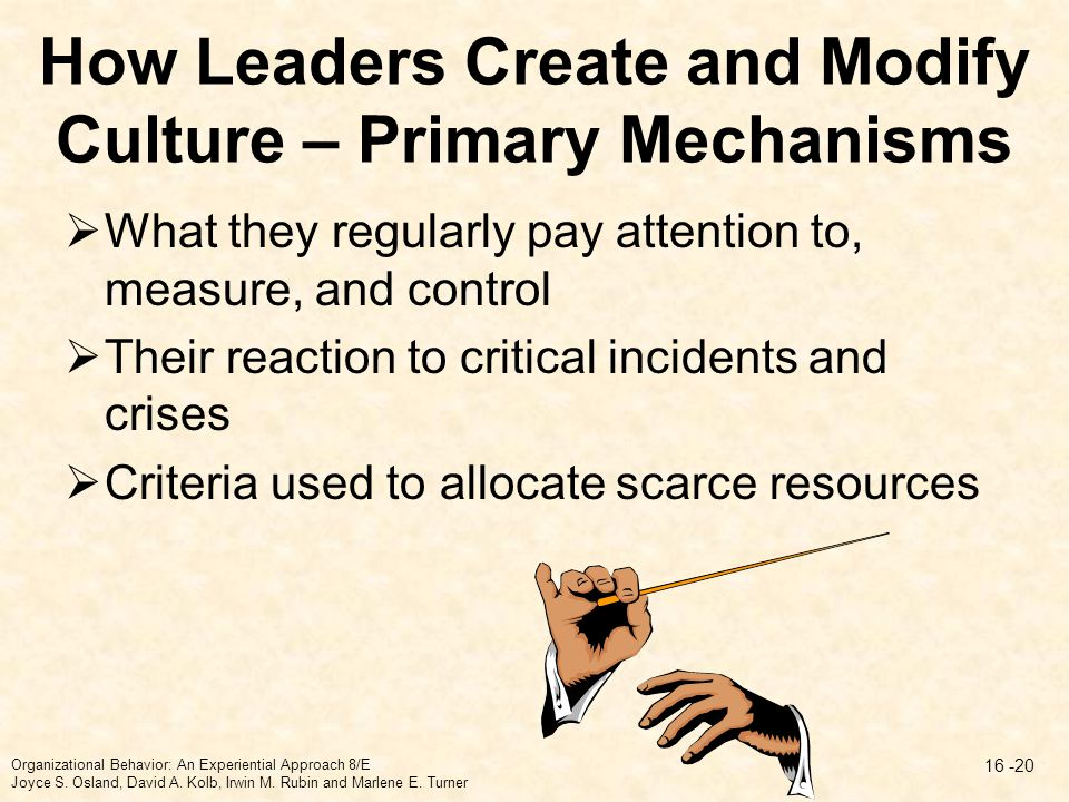How Leaders Create and Modify Culture – Primary Mechanisms