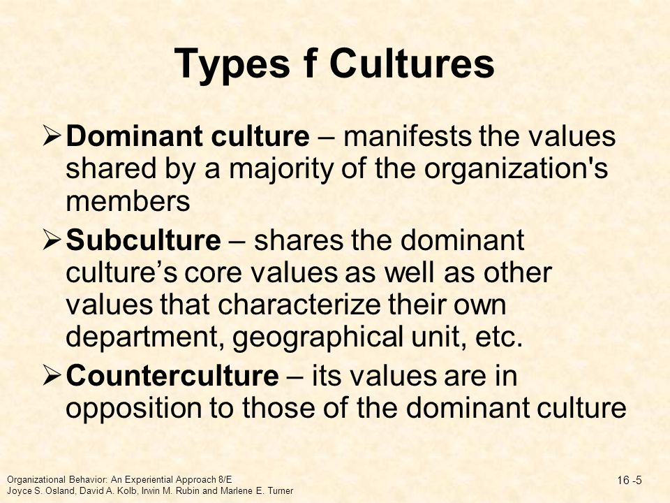 Types f Cultures Dominant culture – manifests the values shared by a majority of the organization s members.