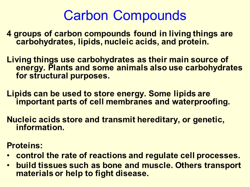 Carbon Compounds 4 groups of carbon compounds found in living things are carbohydrates, lipids, nucleic acids, and protein.
