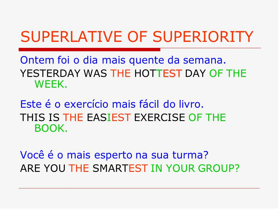 SUPERLATIVE OF SUPERIORITY