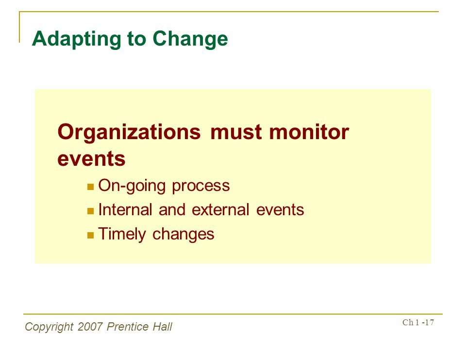 Organizations must monitor events
