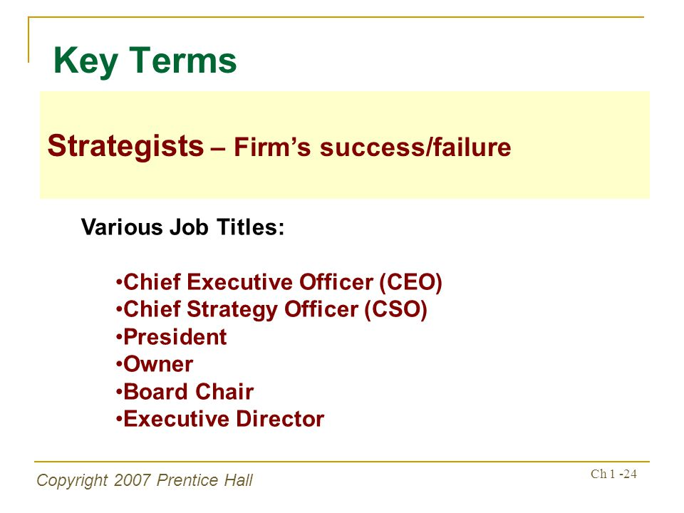 Key Terms Strategists – Firm's success/failure Various Job Titles: