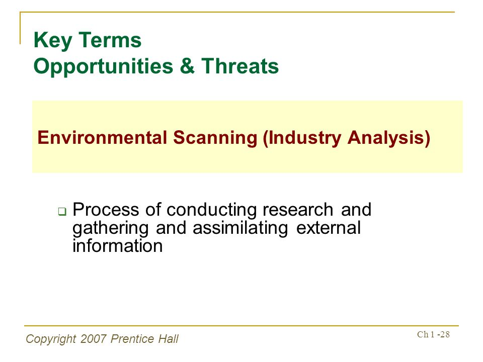 Key Terms Opportunities & Threats