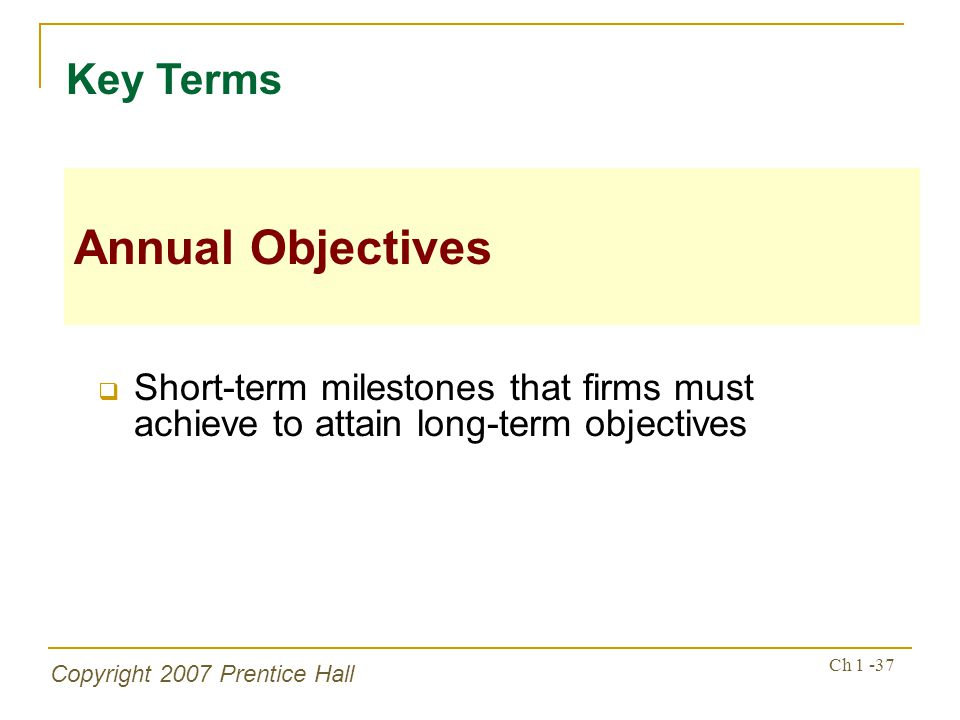 Key Terms Annual Objectives