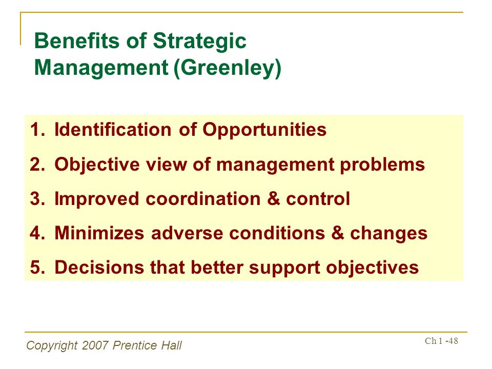 Benefits of Strategic Management (Greenley)