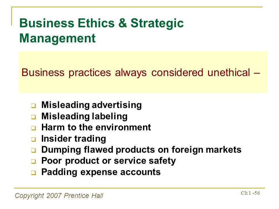 Business Ethics & Strategic Management