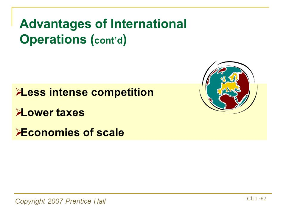 Advantages of International Operations (cont'd)