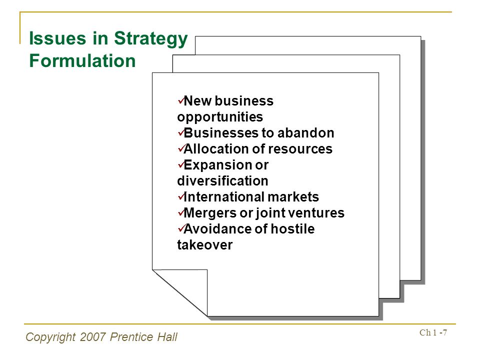 Issues in Strategy Formulation