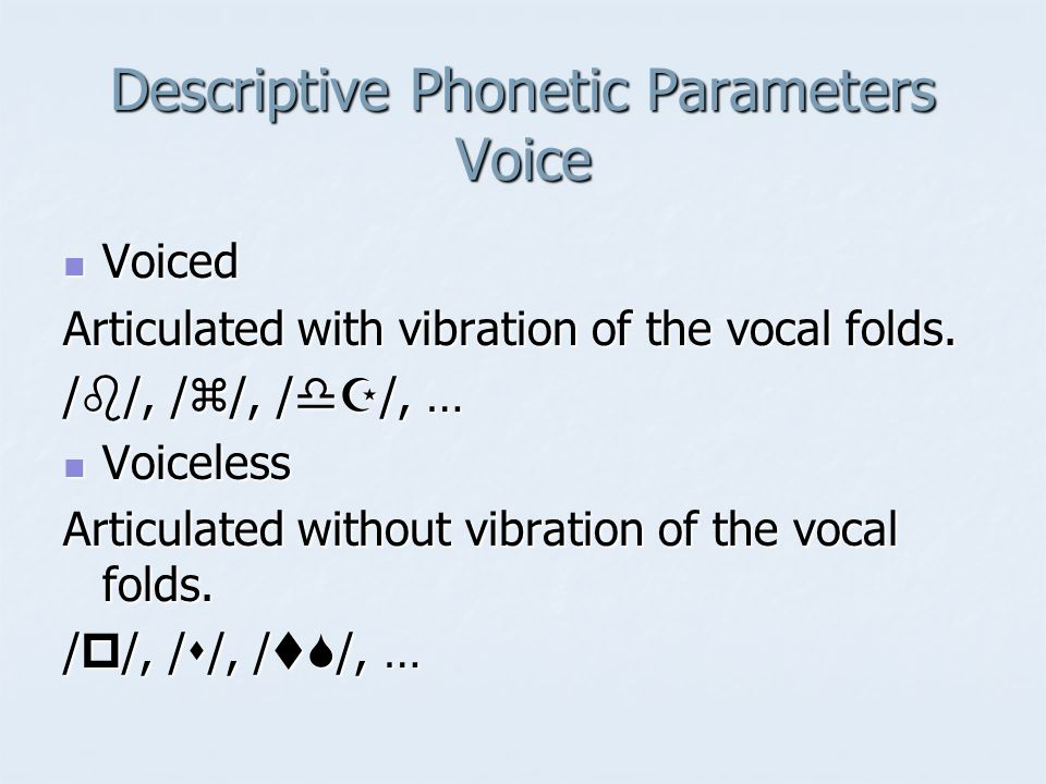Descriptive Phonetic Parameters Voice