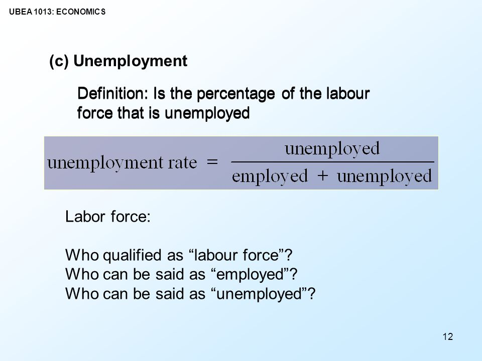(c) Unemployment Definition: Is the percentage of the labour force that is unemployed.