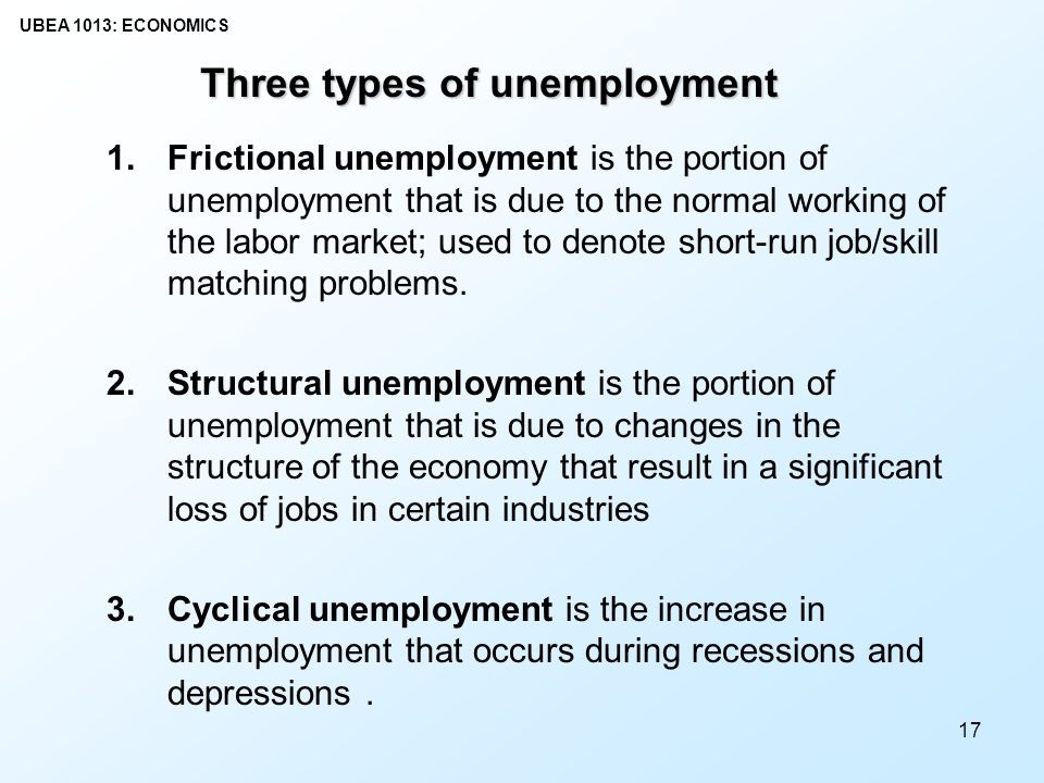 describe the three types of unemployment A recession is a decline in total output, unemployment rises and inflation falls 3 the trough is the bottom of the recession period types of unemployment.