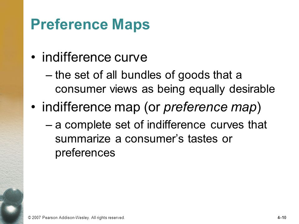 Preference Maps indifference curve