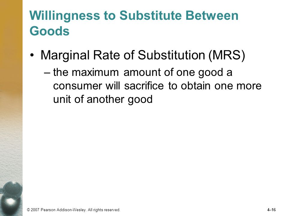 Willingness to Substitute Between Goods