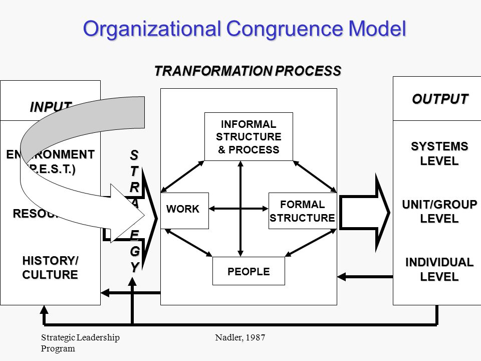 nadler tushman congruence model A model for diagnosing organizational behavior david a nadler michael l tushman c management's primary job is to make organizations operate effectively society's work gets done through organizations and management's function is to get organizations to perform that work.
