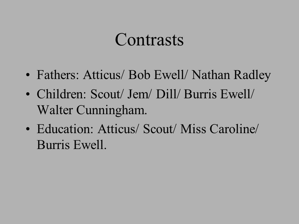 contrast atticus bob ewell and walter cunningham as parents Why does scout explain walter cunningham's situation to miss caroline  the  main effect of the chapter is the change of the light in which jem and scout see  their father  what elements heighten the contrast between atticus and aunt  alexandra  what does atticus attempt to establish through bob ewell's  testimony.