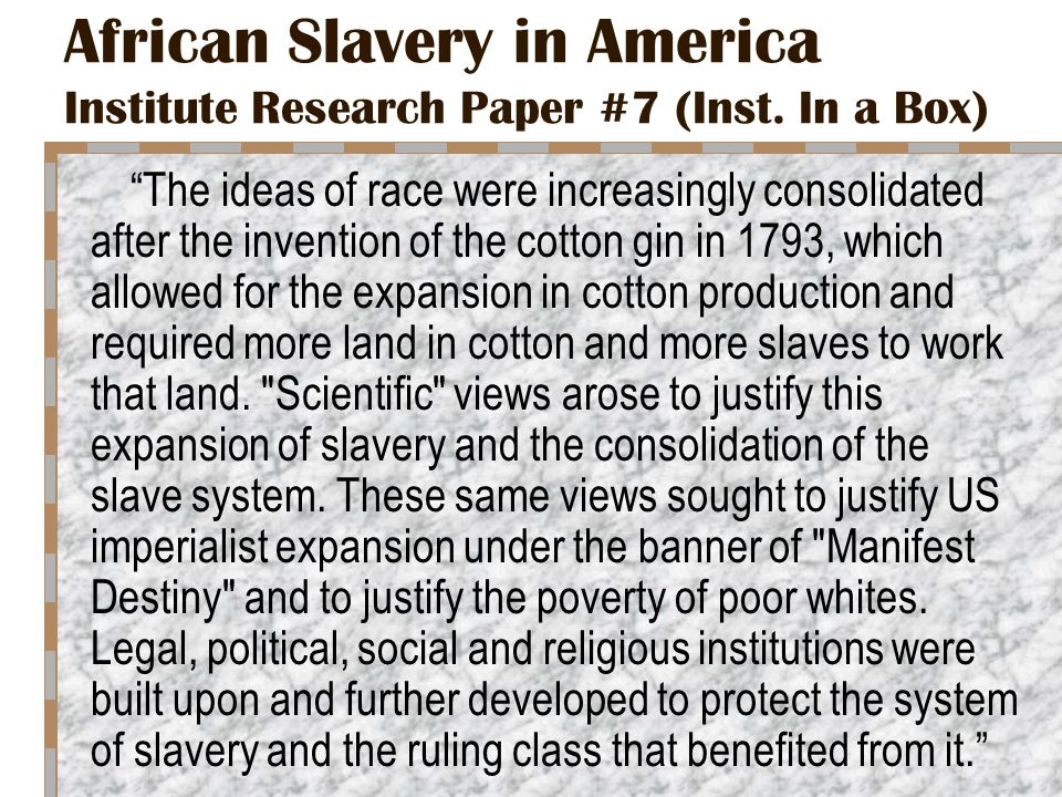 slavery in colonial america research paper Interview with william ballard slavery in the united evolution of slavery in colonial america essay states was the legal institution of human chattel enslavement.