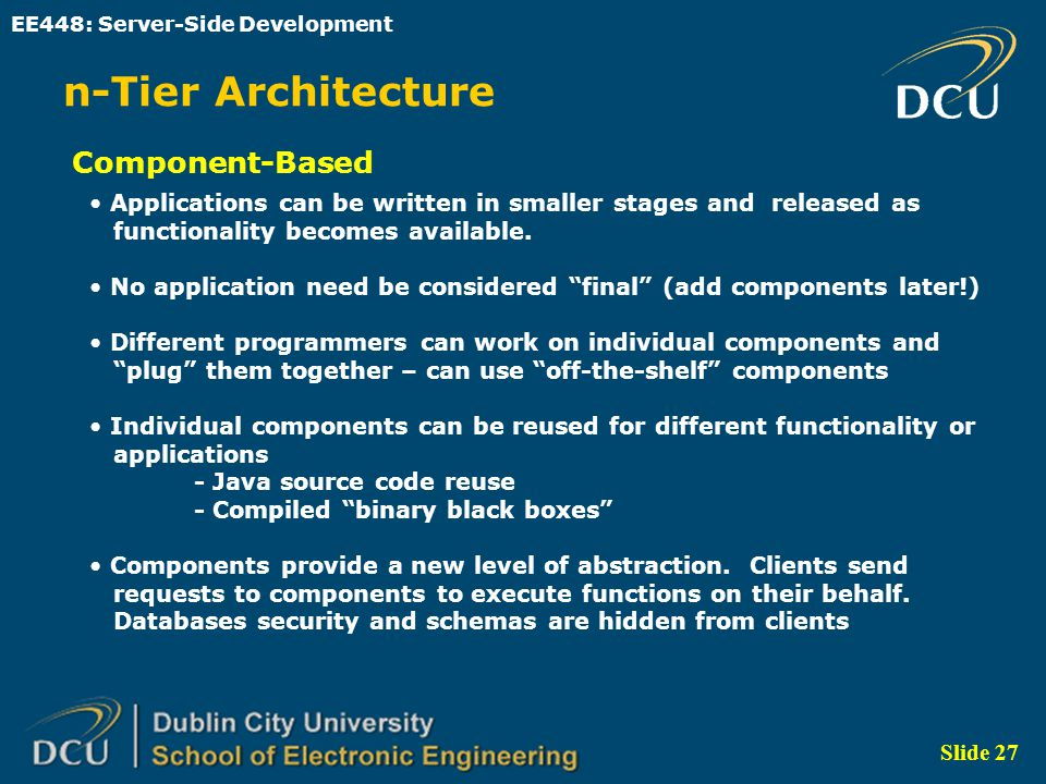 Ee448 server side development ppt video online download for N tier architecture in java