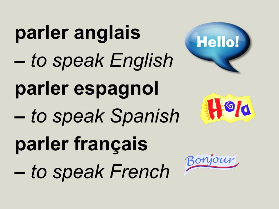 parler anglais – to speak English. parler espagnol.