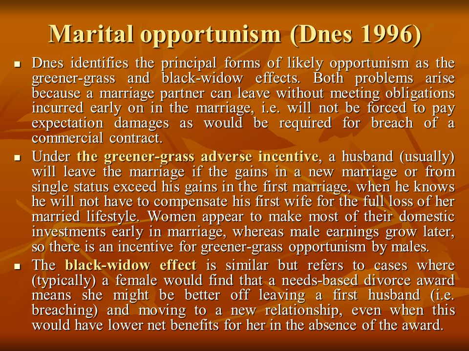 THE LAW & ECONOMICS OF MARRIAGE AND DIVORCE - ppt download