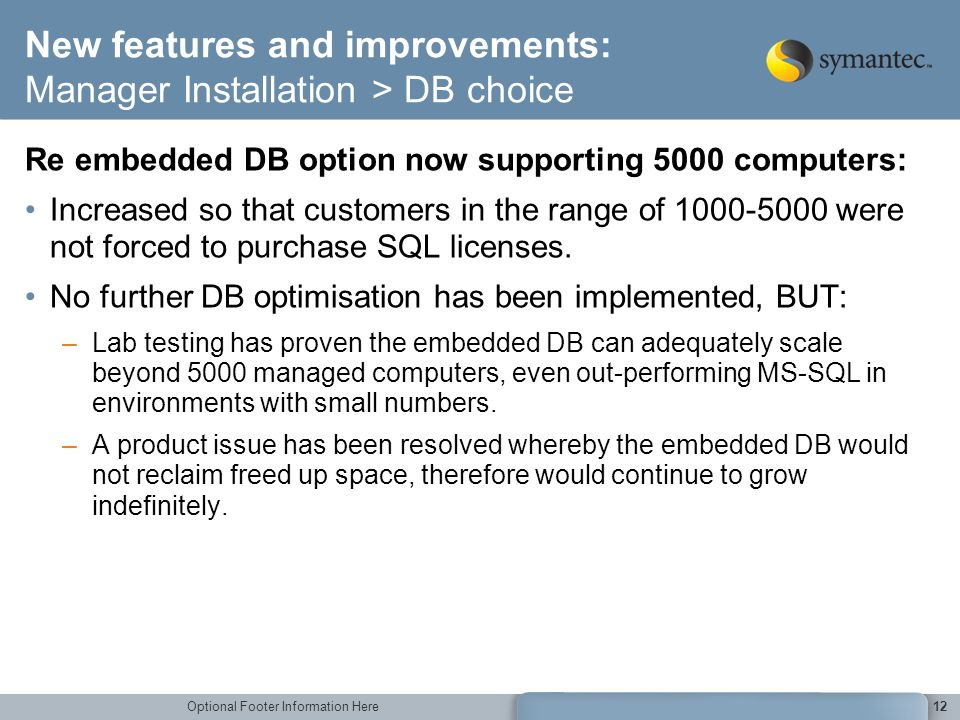 New features and improvements: Manager Installation > DB choice