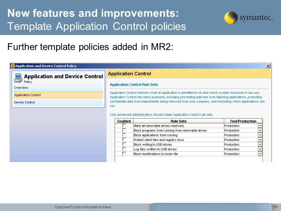 New features and improvements: Template Application Control policies