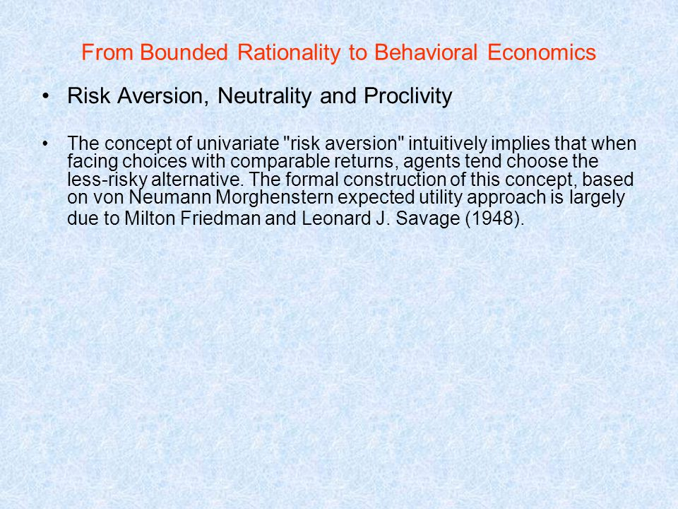the concept of risk aversion is Concept of decreasing risk aversion are discussed and related to one another risks are also considered as a proportion of total assets 1 summary and introduction.