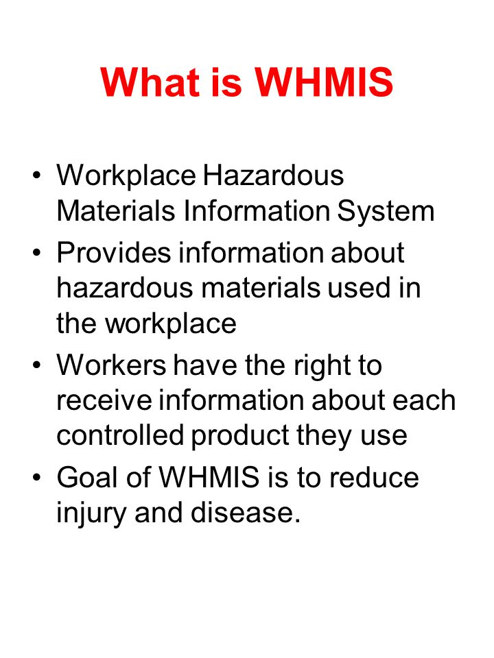 What is WHMIS Workplace Hazardous Materials Information System