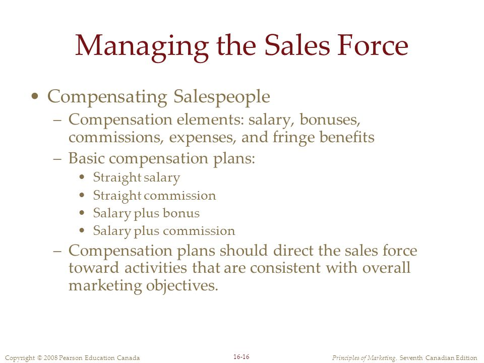 Compensating sales force