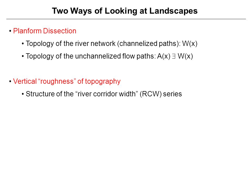 Two Ways of Looking at Landscapes