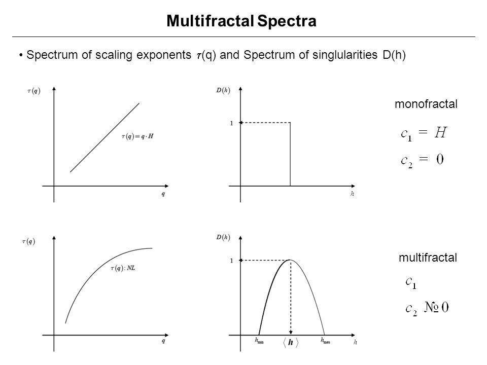 Multifractal Spectra • Spectrum of scaling exponents t(q) and Spectrum of singlularities D(h) monofractal.
