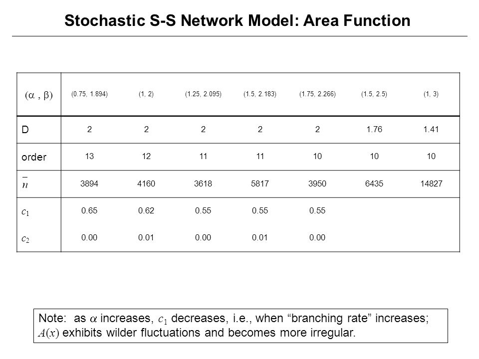 Stochastic S-S Network Model: Area Function