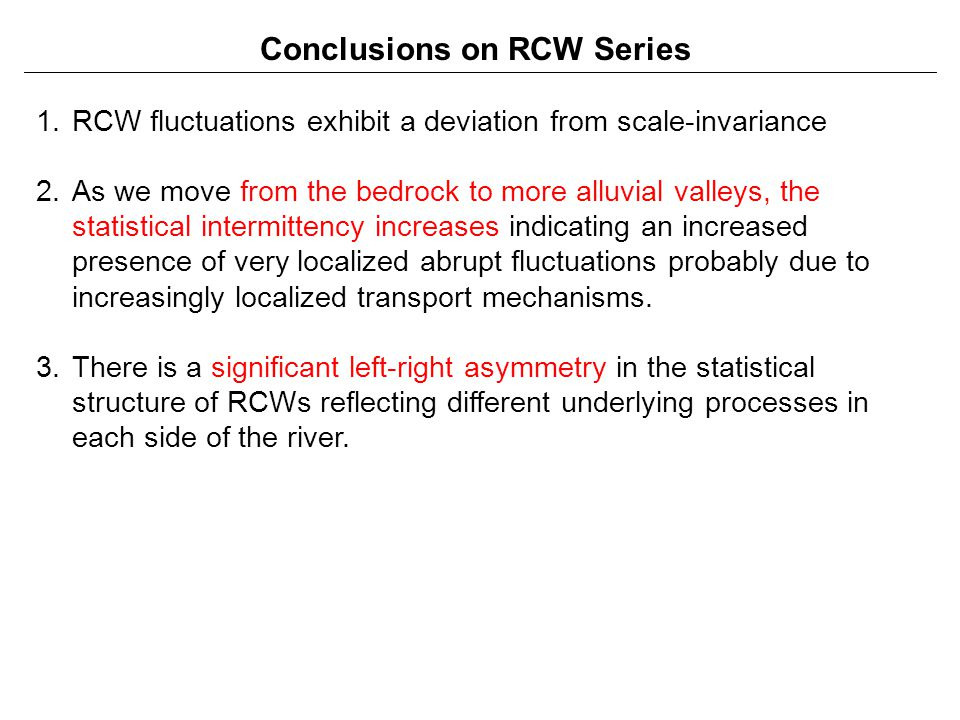 Conclusions on RCW Series