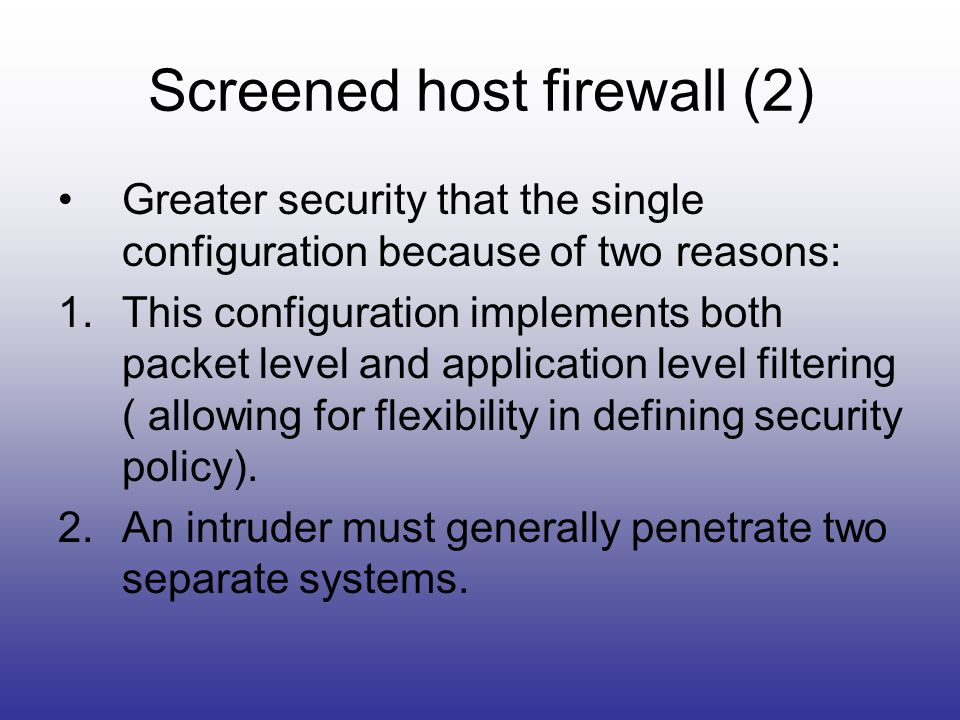 Screened host firewall (2)