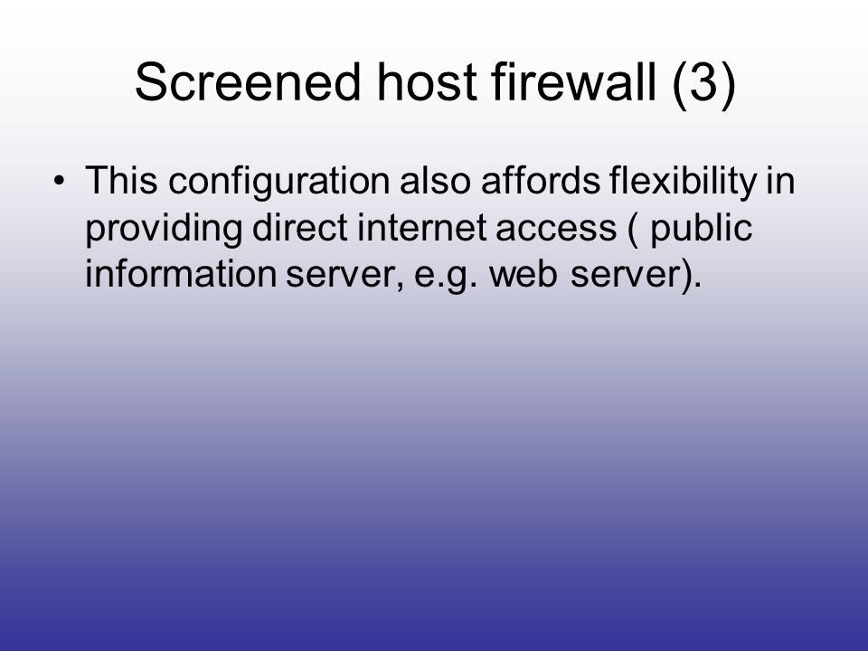 Screened host firewall (3)