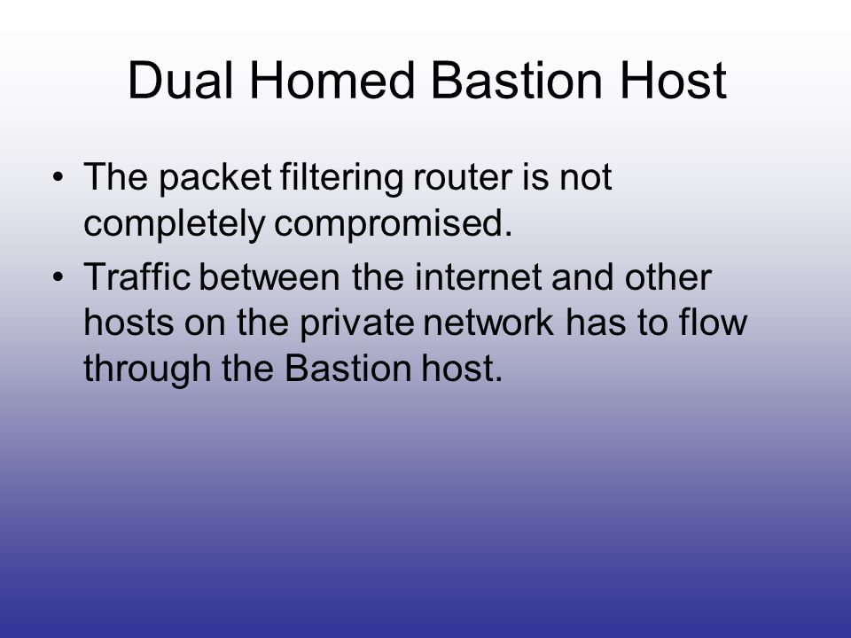 Dual Homed Bastion Host