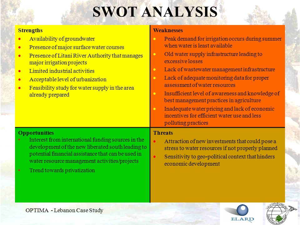 swot analysis vitamin water Vitamin water in pakistan mission industrial swot analysis 14 as a health water to increase the market share of bottle water, to increase the vitamin intake.