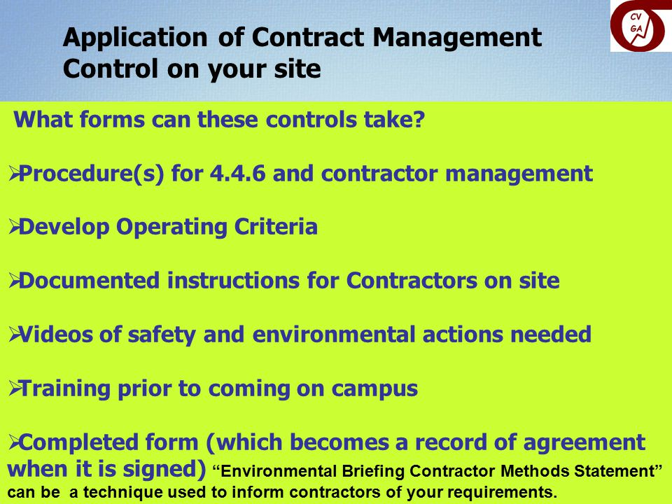 Application of Contract Management Control on your site